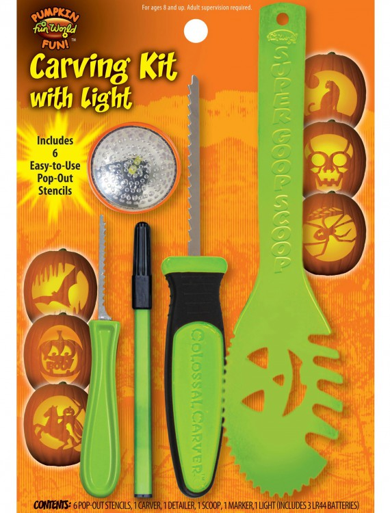 11 pc Green Colossal Carving Kit w/ Light, halloween costume (11 pc Green Colossal Carving Kit w/ Light)