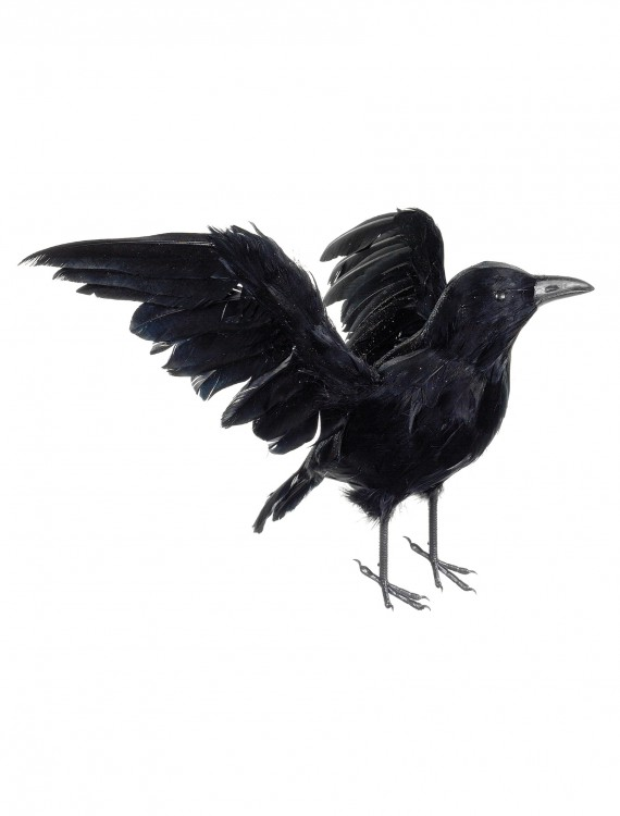 13 Inch Glittered Crow, halloween costume (13 Inch Glittered Crow)