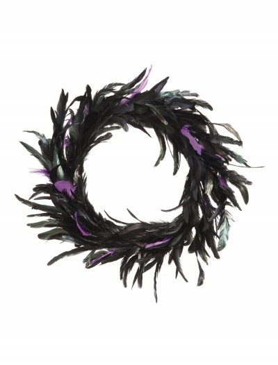 23 Inch Black and Purple Feather Wreath, halloween costume (23 Inch Black and Purple Feather Wreath)