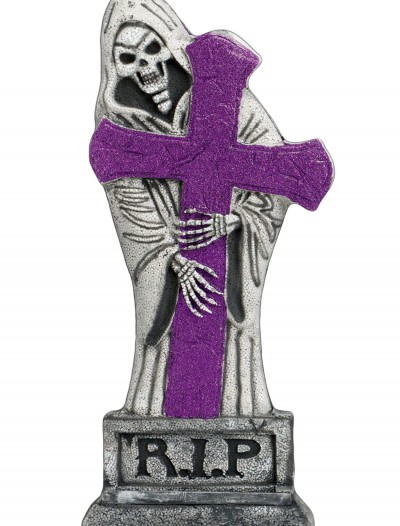 24 inch Purple Glitter Light-Up Grave Stone, halloween costume (24 inch Purple Glitter Light-Up Grave Stone)