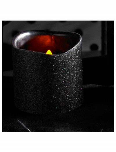 4 Inch Black Glitter LED Candle, halloween costume (4 Inch Black Glitter LED Candle)