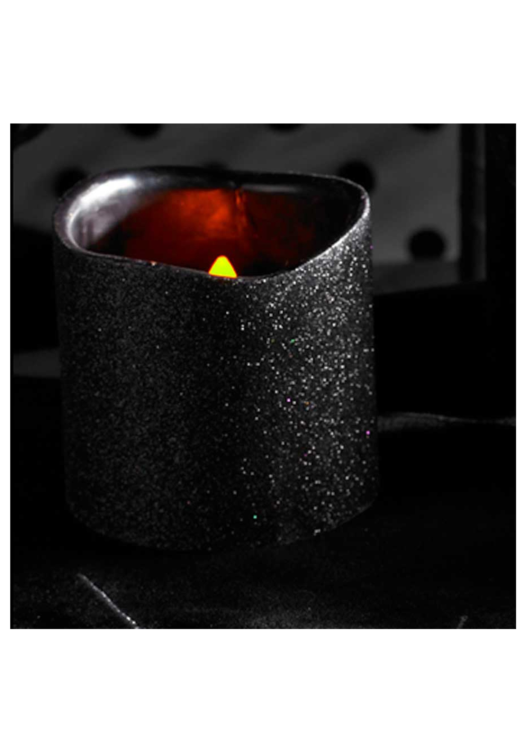 4 inch black glitter led candle - halloween costumes