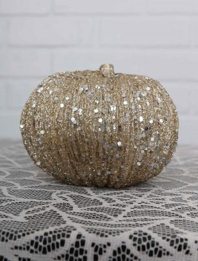 4.5 Inch Short Champagne Glitter Pumpkin, halloween costume (4.5 Inch Short Champagne Glitter Pumpkin)