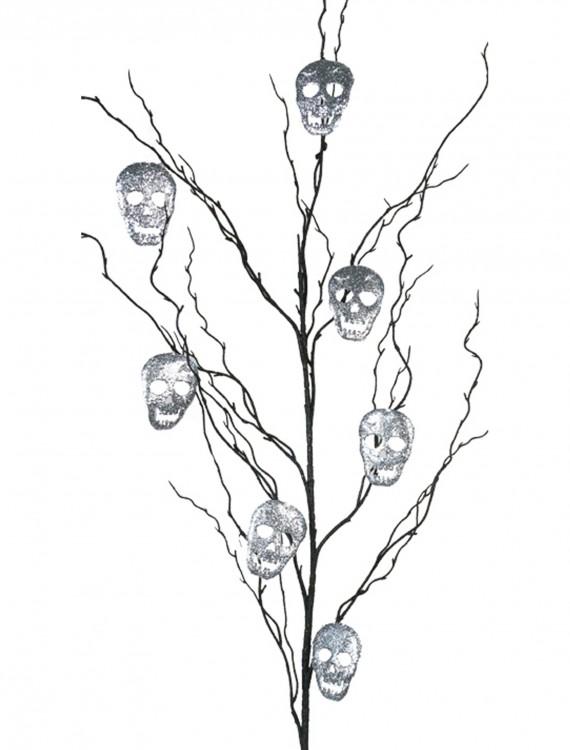 "50"" Black Glitter Branch w/Silver Skulls, halloween costume (50"" Black Glitter Branch w/Silver Skulls)"