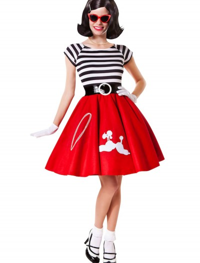 50s Ooh La La Red Poodle Skirt w/ Striped Top, halloween costume (50s Ooh La La Red Poodle Skirt w/ Striped Top)