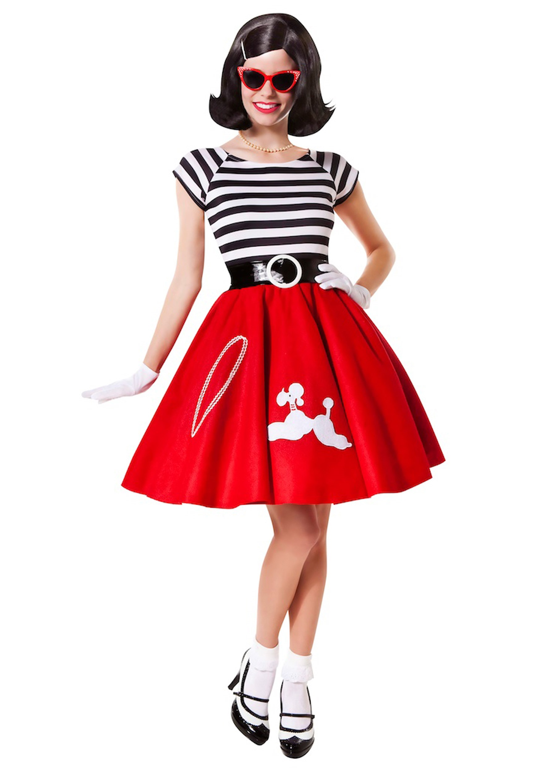 50s Ooh La La Red Poodle Skirt w/ Striped Top  sc 1 st  Halloween Costumes : best halloween costumes for ladies  - Germanpascual.Com