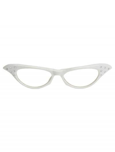 50s White Rhinestone Glasses, halloween costume (50s White Rhinestone Glasses)