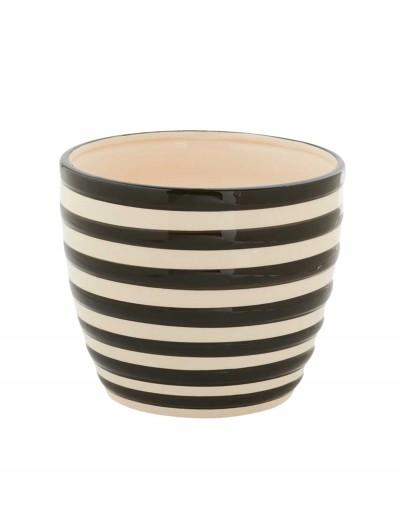 5.5 Inch Black and White Ceramic Striped Pot, halloween costume (5.5 Inch Black and White Ceramic Striped Pot)