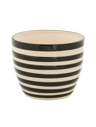 6 Inch Black and White Ceramic Striped Pot, halloween costume (6 Inch Black and White Ceramic Striped Pot)