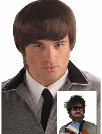 60s Mod Brown Mens Wig, halloween costume (60s Mod Brown Mens Wig)