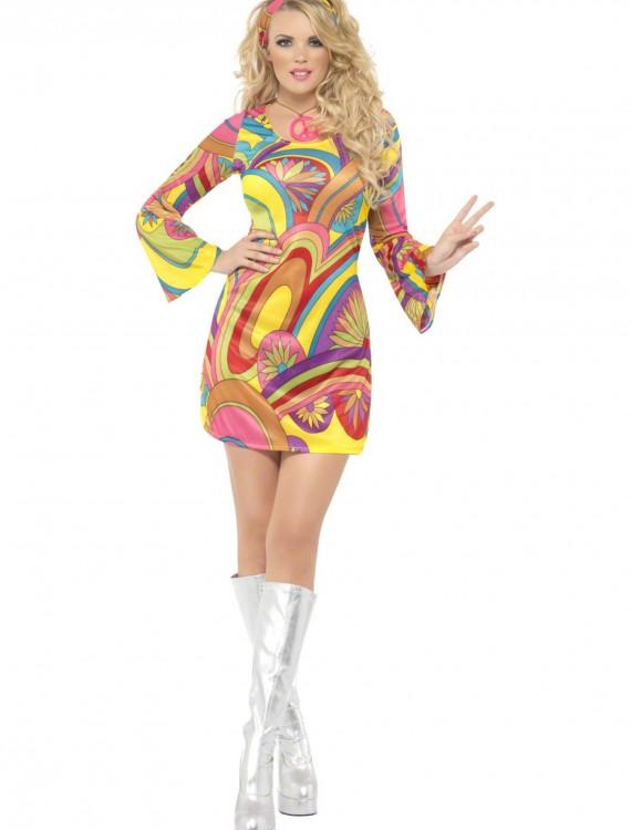60s Sexy Flower Power Costume, halloween costume (60s Sexy Flower Power Costume)