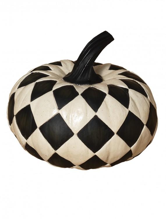 6.8 Inch Resin Black & White Diamond Pumpkin, halloween costume (6.8 Inch Resin Black & White Diamond Pumpkin)