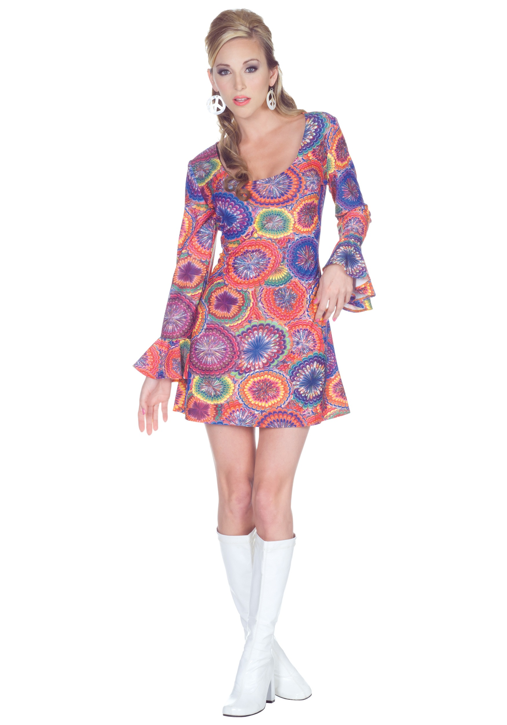 70s Sexy Psychedelic Dress - Halloween Costumes