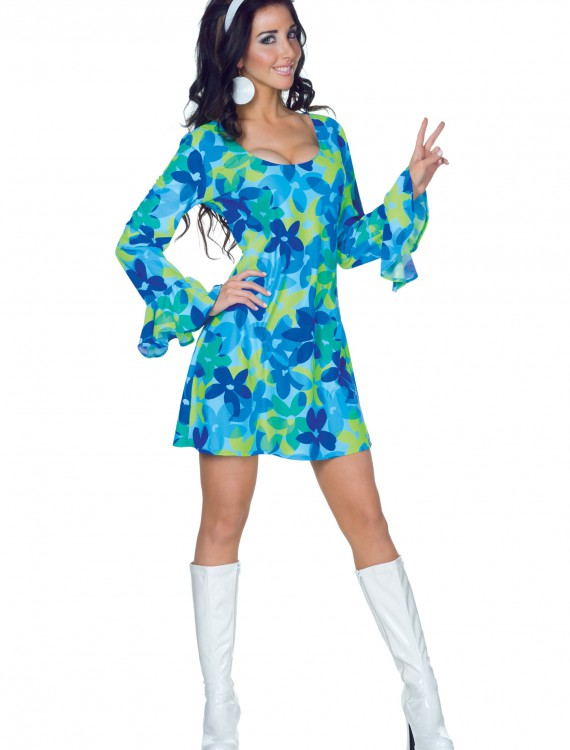 70s Wild Flower Dress Costume, halloween costume (70s Wild Flower Dress Costume)