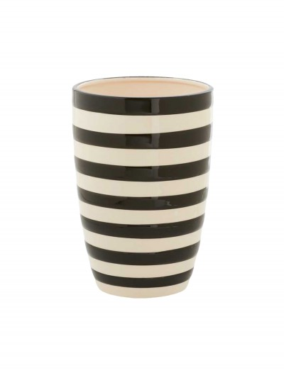 7.5 Inch Black and White Ceramic Striped Pot, halloween costume (7.5 Inch Black and White Ceramic Striped Pot)