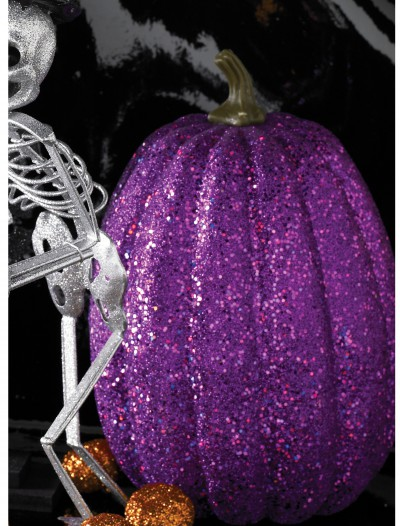"7.5"" Tall Purple Glitter Pumpkin, halloween costume (7.5"" Tall Purple Glitter Pumpkin)"