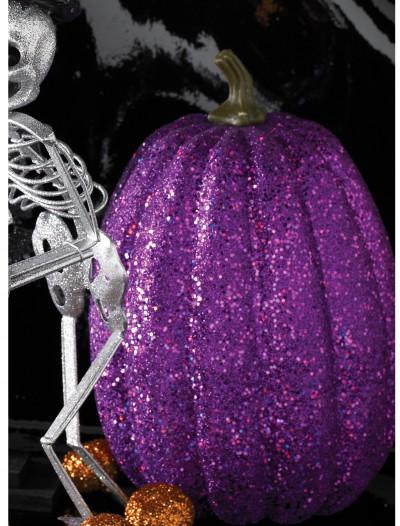 "7.5"" Tall Purple Glitter Pumpkin, halloween costume (7.5"" Tall Purple Glitter Pumpkin)"
