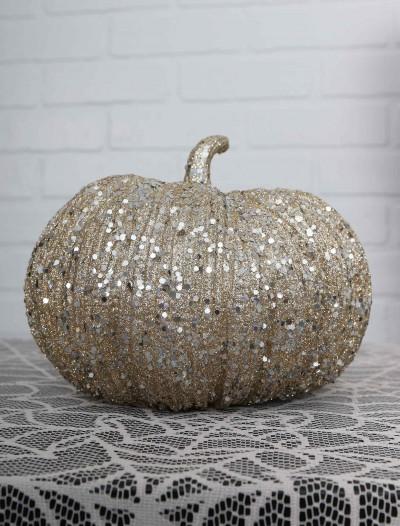 7 Inch Champagne Glitter Pumpkin, halloween costume (7 Inch Champagne Glitter Pumpkin)