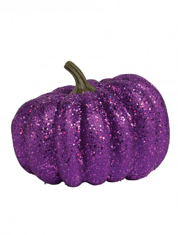 "8"" Round Purple Glitter Pumpkin, halloween costume (8"" Round Purple Glitter Pumpkin)"