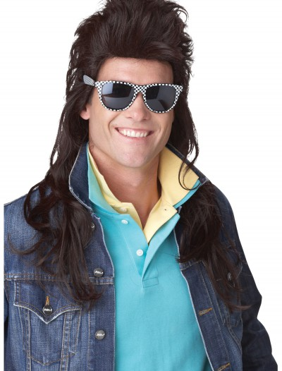 80s Brown Rock Mullet Wig, halloween costume (80s Brown Rock Mullet Wig)