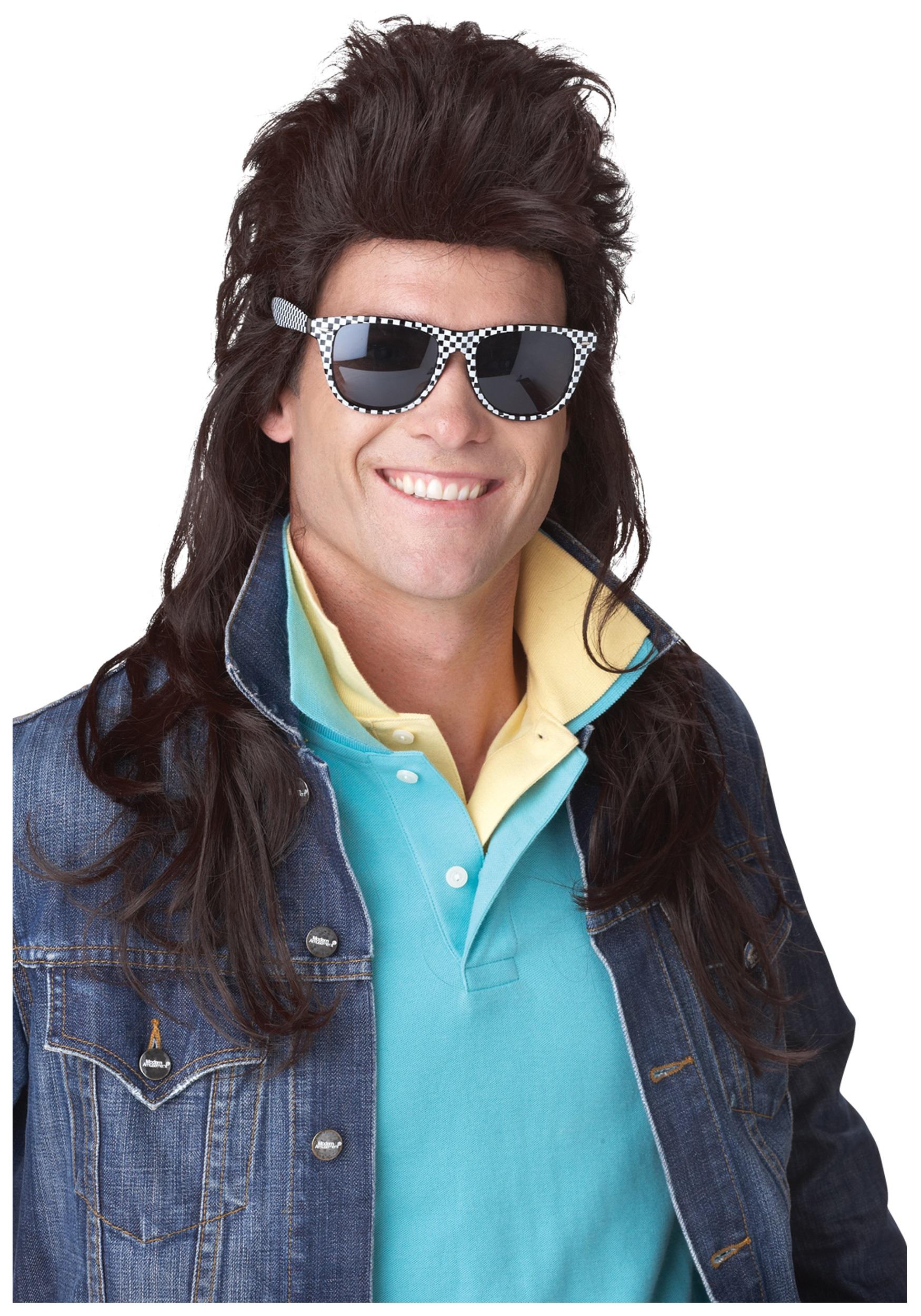 80s brown rock mullet wig - 80s Rocker Halloween Costume