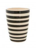 8.5 Inch Black and White Ceramic Striped Pot, halloween costume (8.5 Inch Black and White Ceramic Striped Pot)