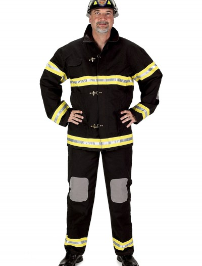 Adult Black Fireman Costume w/ Helmet, halloween costume (Adult Black Fireman Costume w/ Helmet)