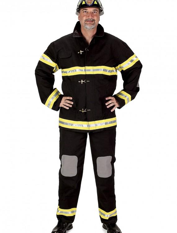 Adult Black Fireman Costume w/ Helmet, halloween costume (Adult Black Fireman Costume w/ Helmet)