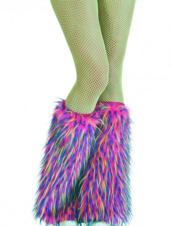 Adult Multicolor Furry Boot Covers, halloween costume (Adult Multicolor Furry Boot Covers)