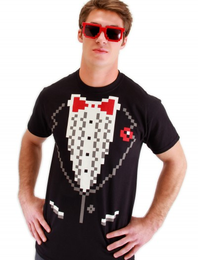 Adult Pixel 8 Tuxedo Shirt, halloween costume (Adult Pixel 8 Tuxedo Shirt)