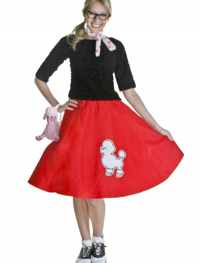 Adult Red 50s Poodle Skirt, halloween costume (Adult Red 50s Poodle Skirt)