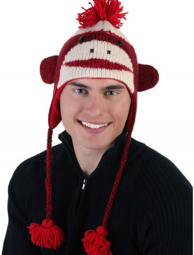 Adult Red Cute Sock Monkey Hat, halloween costume (Adult Red Cute Sock Monkey Hat)