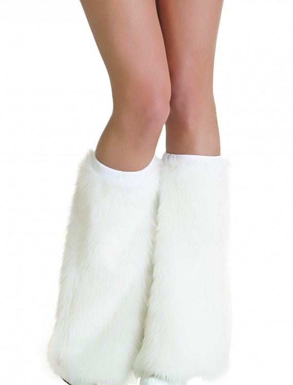 Adult White Furry Boot Covers, halloween costume (Adult White Furry Boot Covers)
