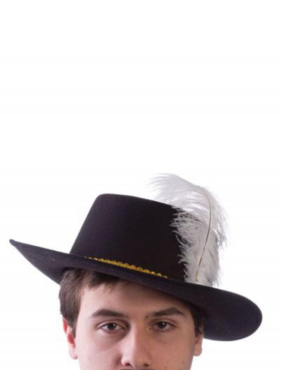 Adult Wool Musketeer Hat with Feather, halloween costume (Adult Wool Musketeer Hat with Feather)