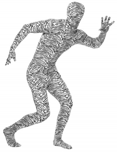 Adult Zebra Second Skin Suit, halloween costume (Adult Zebra Second Skin Suit)