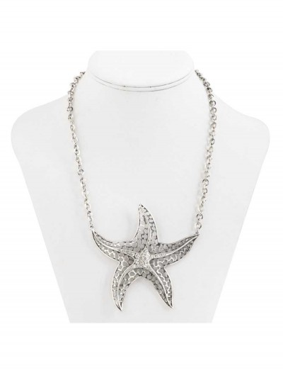 Antique Silver Star Fish Necklace, halloween costume (Antique Silver Star Fish Necklace)