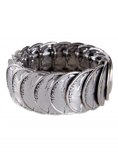 Antique Silver Stretch Coin Bracelet, halloween costume (Antique Silver Stretch Coin Bracelet)