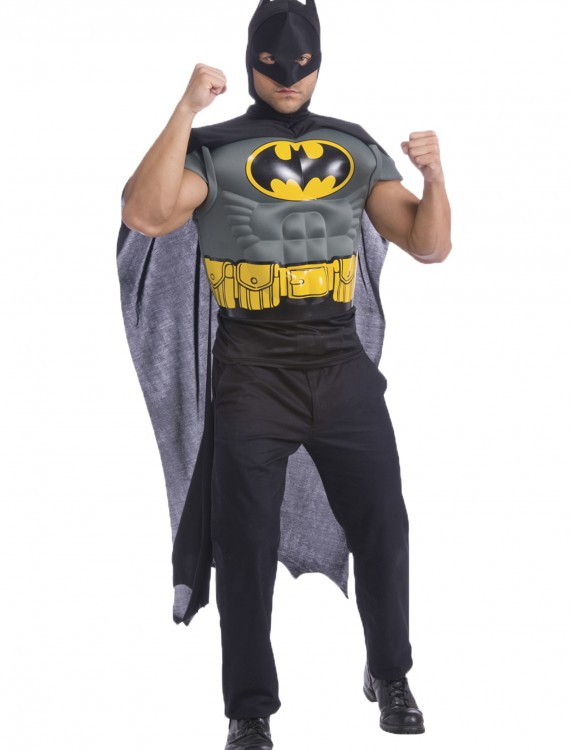 Batman Adult Muscle Chest Shirt, halloween costume (Batman Adult Muscle Chest Shirt)
