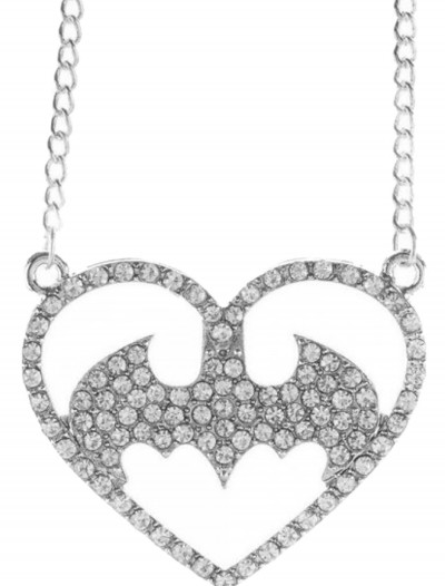 Batman Logo Heart Bling Necklace, halloween costume (Batman Logo Heart Bling Necklace)