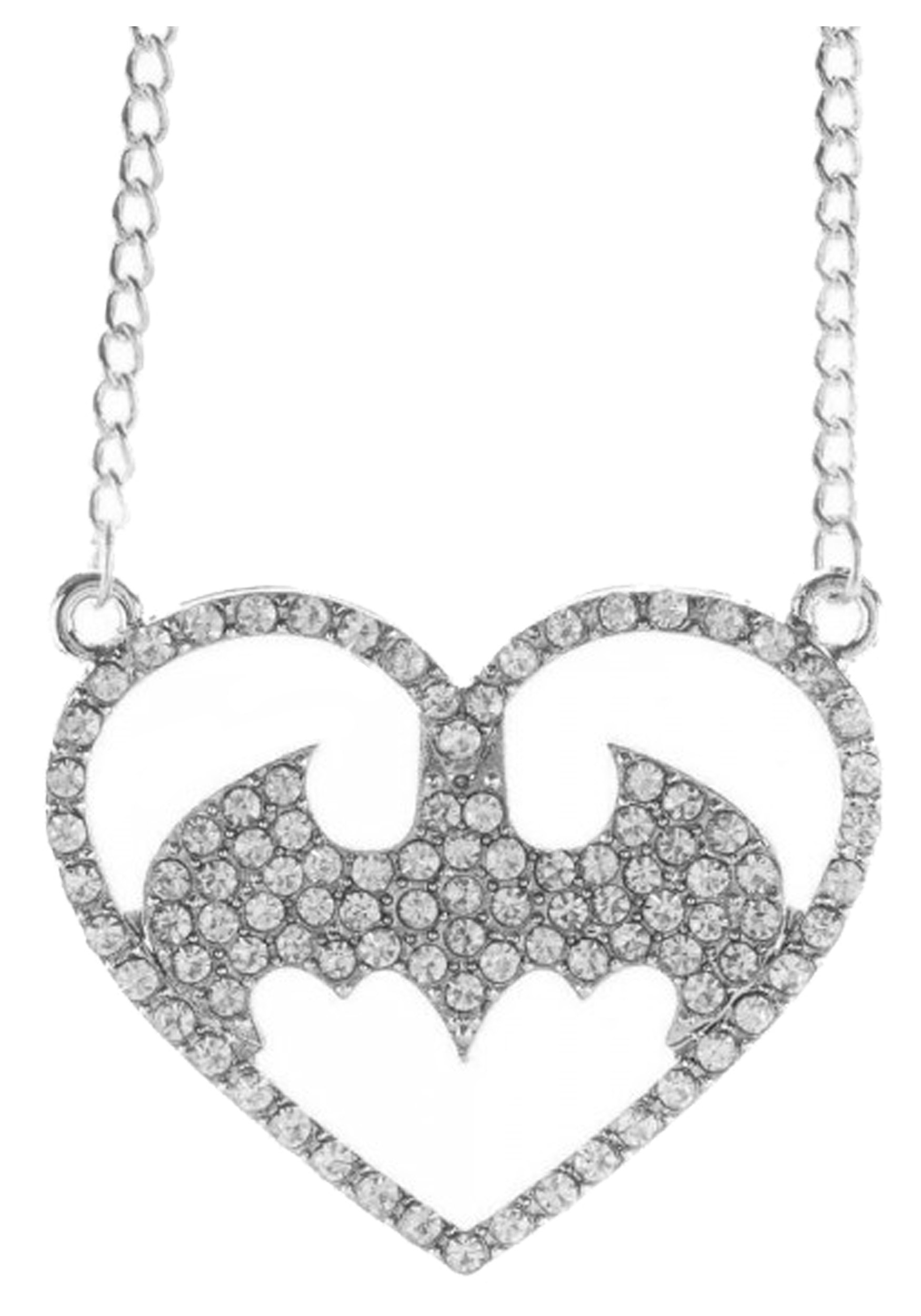 batman logo heart bling necklace - halloween costumes