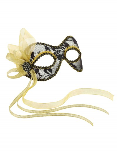 Black and Gold Lace Mardi Gras Mask, halloween costume (Black and Gold Lace Mardi Gras Mask)