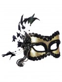Black and Gold Sequin and Feather Mardi Gras Mask, halloween costume (Black and Gold Sequin and Feather Mardi Gras Mask)