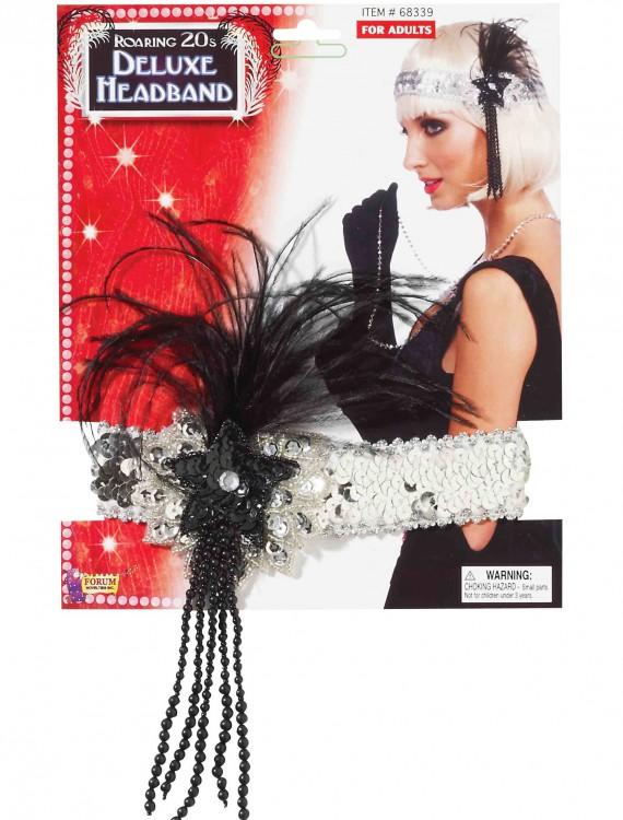 Black and Silver Beaded Flapper Headband, halloween costume (Black and Silver Beaded Flapper Headband)