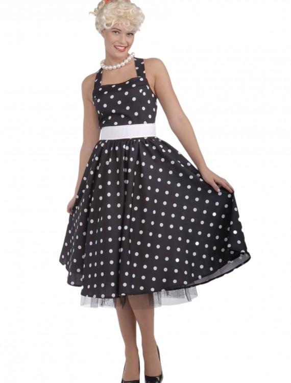 Black and White 50's Polka Dot Dress, halloween costume (Black and White 50's Polka Dot Dress)