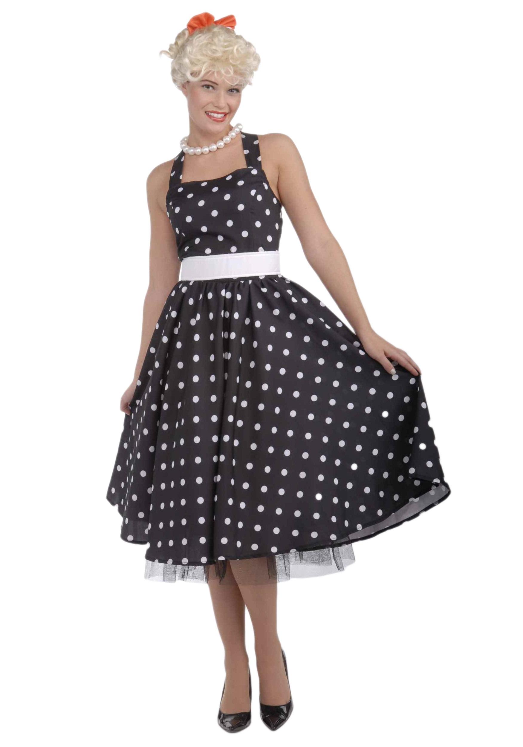 Black and White 50u0027s Polka Dot Dress  sc 1 st  Halloween Costumes & Black and White 50u0027s Polka Dot Dress - Halloween Costumes
