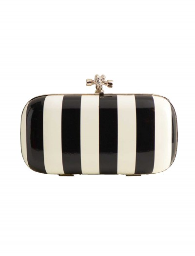 Black and White Stripe Evening Bag with Chain, halloween costume (Black and White Stripe Evening Bag with Chain)