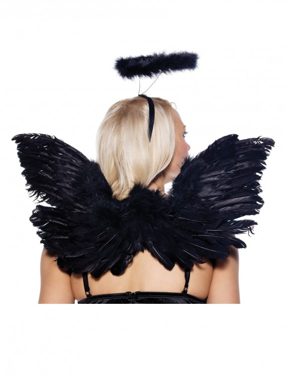 Black Angel Wings and Halo Set, halloween costume (Black Angel Wings and Halo Set)