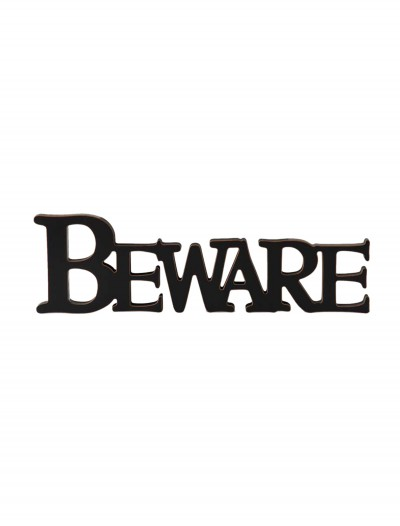 Black Beware Cutout Sign, halloween costume (Black Beware Cutout Sign)