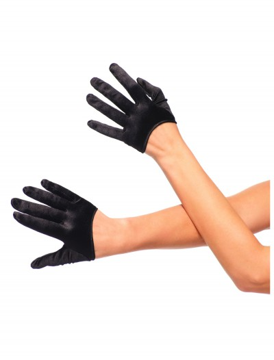 Black Cropped Satin Gloves, halloween costume (Black Cropped Satin Gloves)