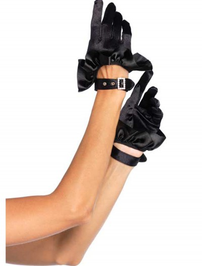 Black Cropped Satin Ruffle Gloves, halloween costume (Black Cropped Satin Ruffle Gloves)